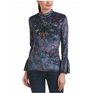 Free People L'Amour Tee Embellished Front Blouse